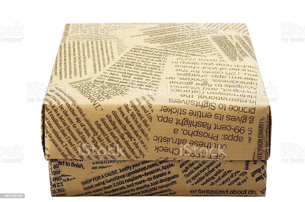 "Gift box ""Old Newspaper"" Gift box ""Old Newspaper"". Isolated on white background, saved with clipping path. Art Stock Photo"