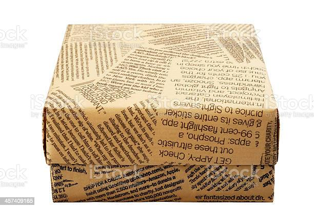 Gift Box Old Newspaper Stock Photo - Download Image Now