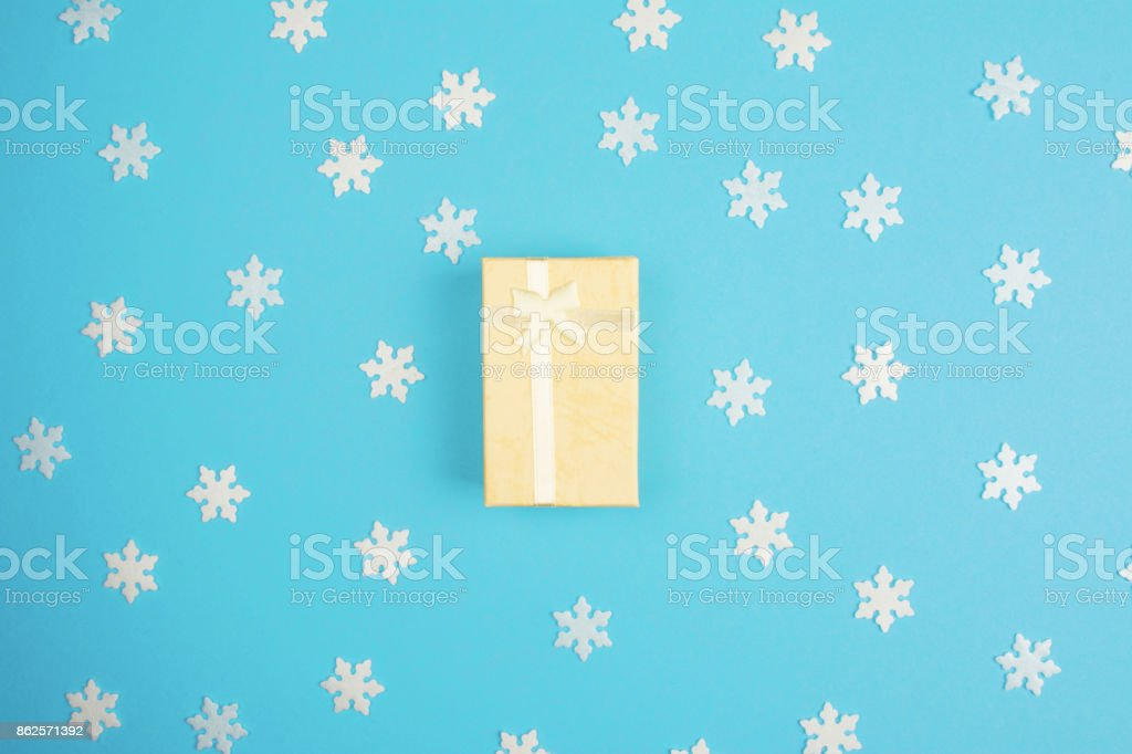 Gift box on colorful background stock photo
