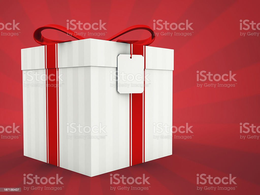 Gift Box On Red Background royalty-free stock photo