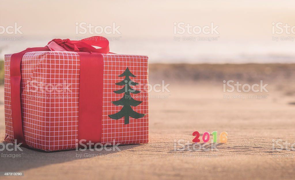 Gift Box on The Sand stock photo