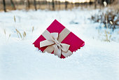 Gift box on the snowfield.