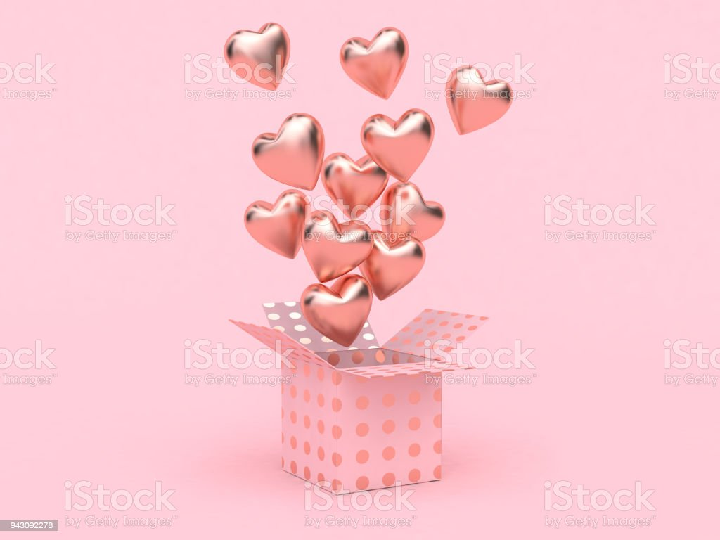 gift box open balloon heart floating pink background love valentine picture id943092278