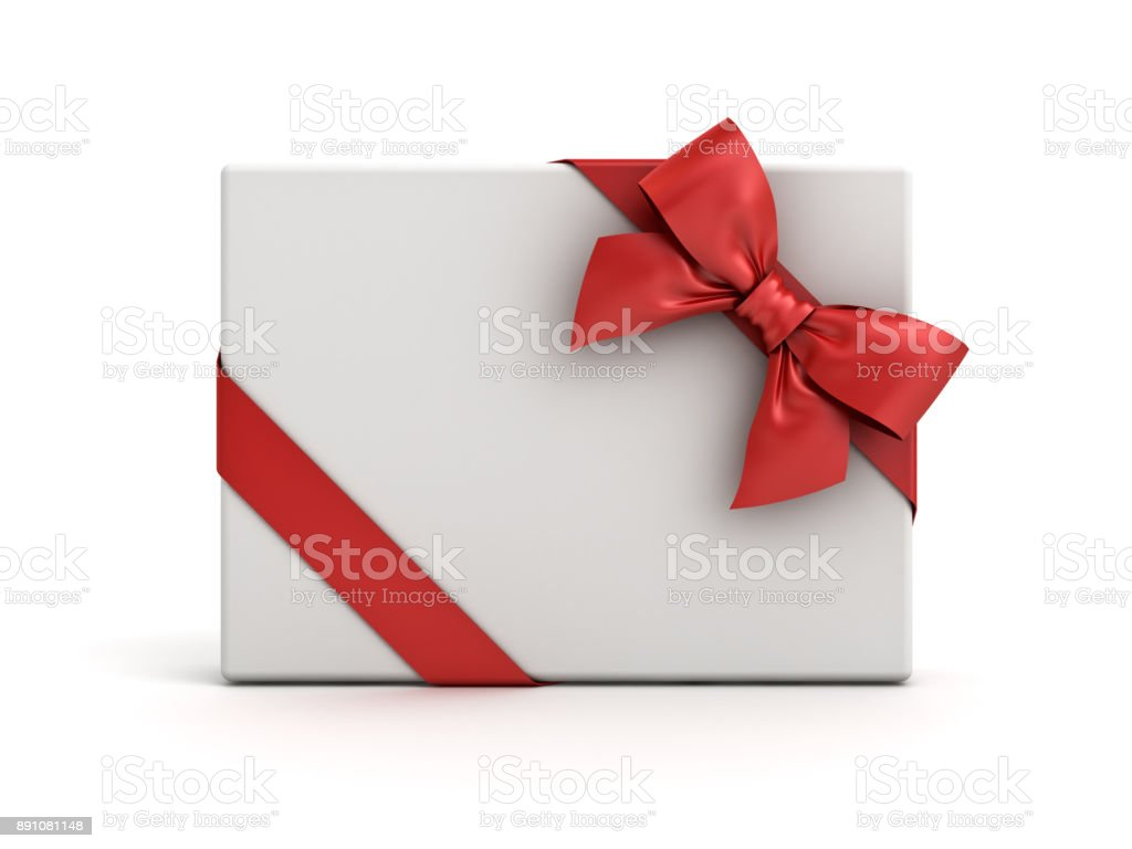 Gift box or present box with red ribbon and bow isolated on white background with shadow stock photo
