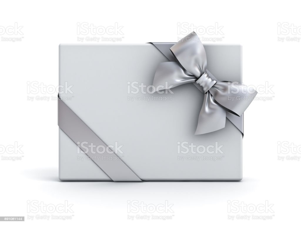 Gift box or present box with silver ribbon and bow isolated on white background with shadow stock photo