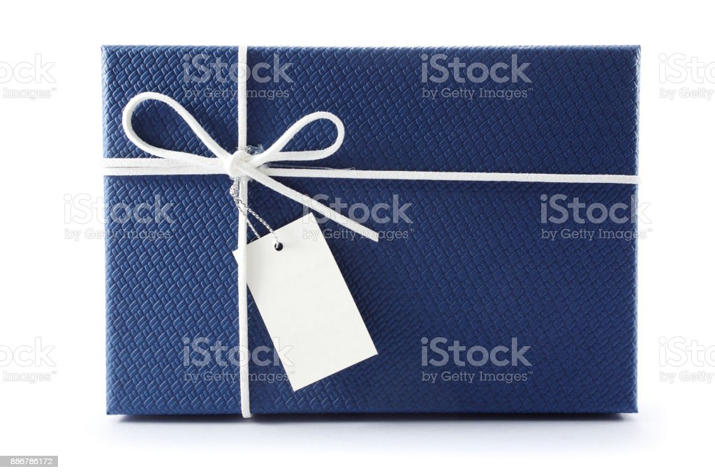 Gift box or present box with white rope bow and blank tag isolated on white background with shadow stock photo