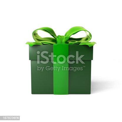 Gift box with red ribbon bow isolated over white background.