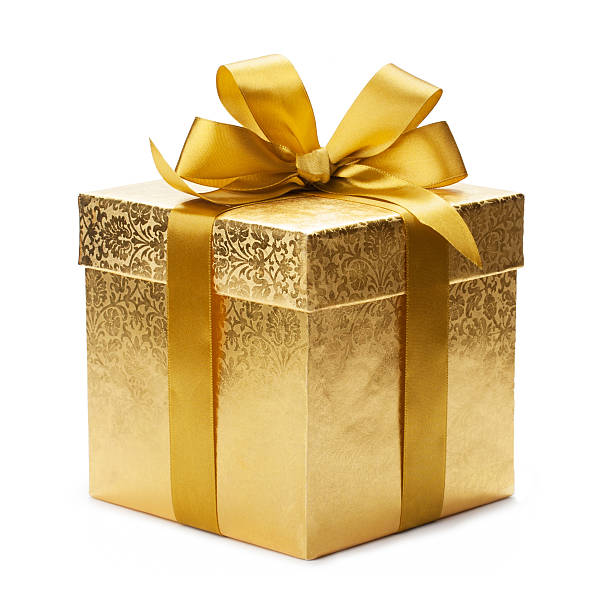Gift box Gift box and gold ribbon isolated on white background gift box stock pictures, royalty-free photos & images
