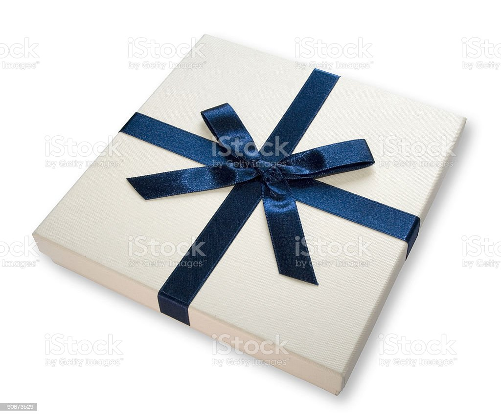 Gift box (BLUE BOW) royalty-free stock photo