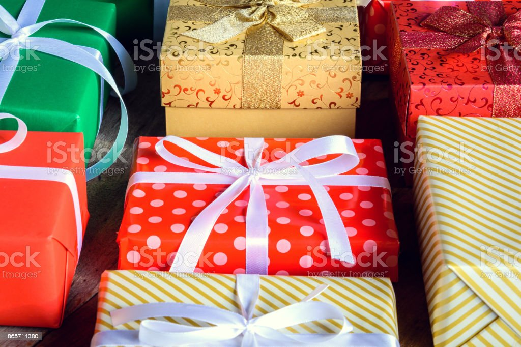 Gift Box Present And Decorate On A Wooden Table Royalty Free Stock Photo