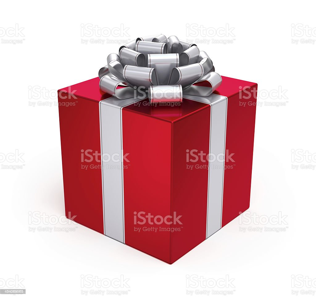 Gift Box Red with Silver Ribbon and Bow stock photo