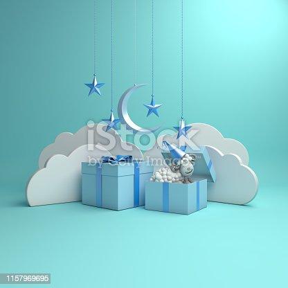istock Gift box, sheep, crescent moon, star on studio lighting blue pastel background. 3D rendering illustration. 1157969695