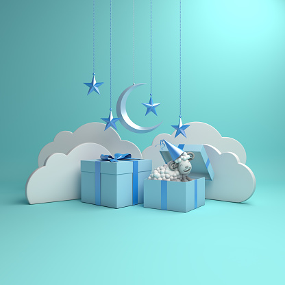 istock Gift box, sheep, crescent moon, star on studio lighting blue pastel background. 3D rendering illustration. 1157969695