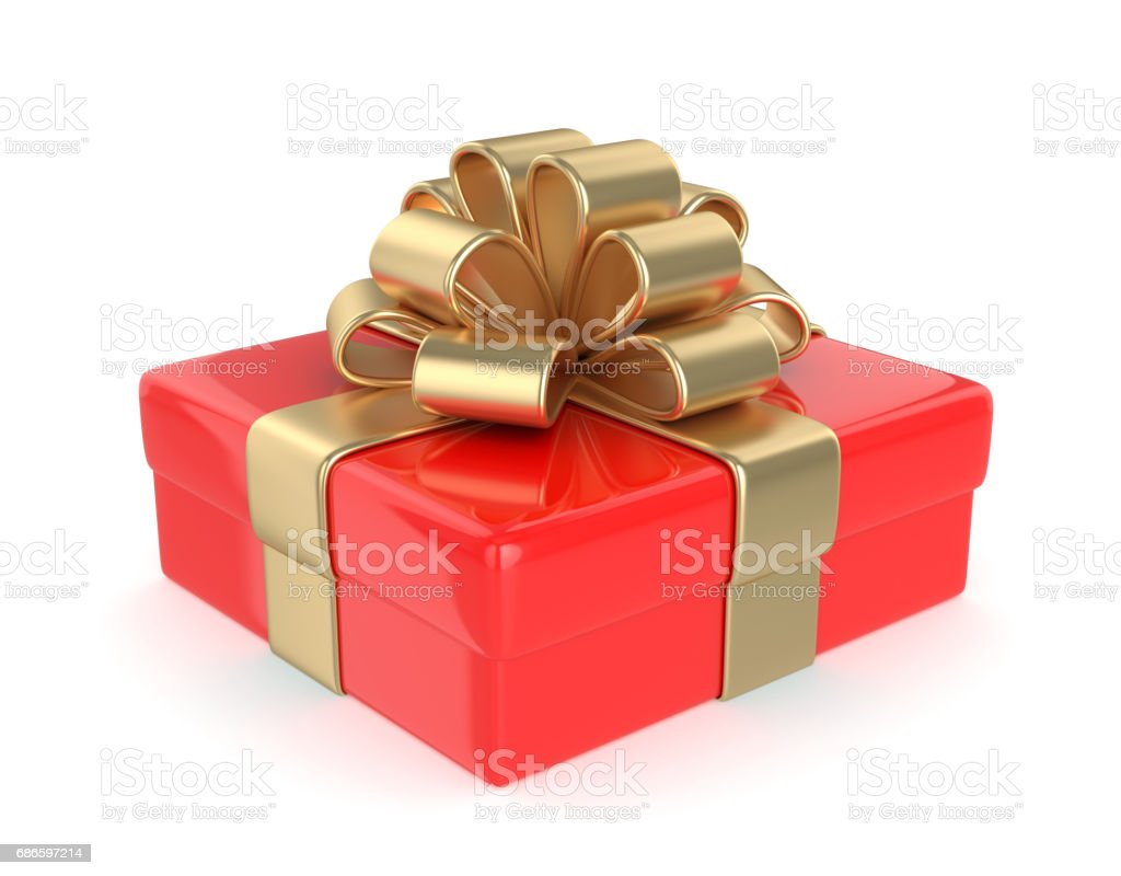 Gift box with a gold ribbon royalty-free stock photo