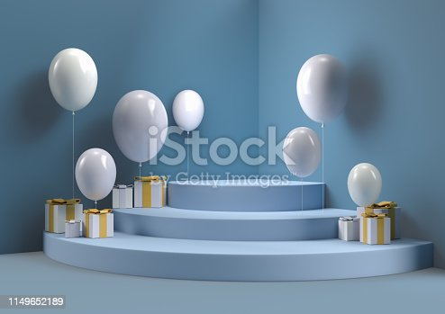 istock gift box with and balloon abstract wall corner scene 3d rendering minimal circle podium. 1149652189