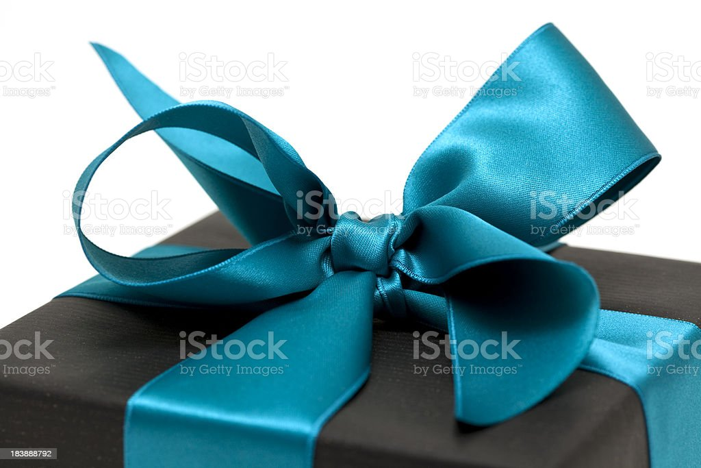 gift box with blue bow (clipping path ) royalty-free stock photo