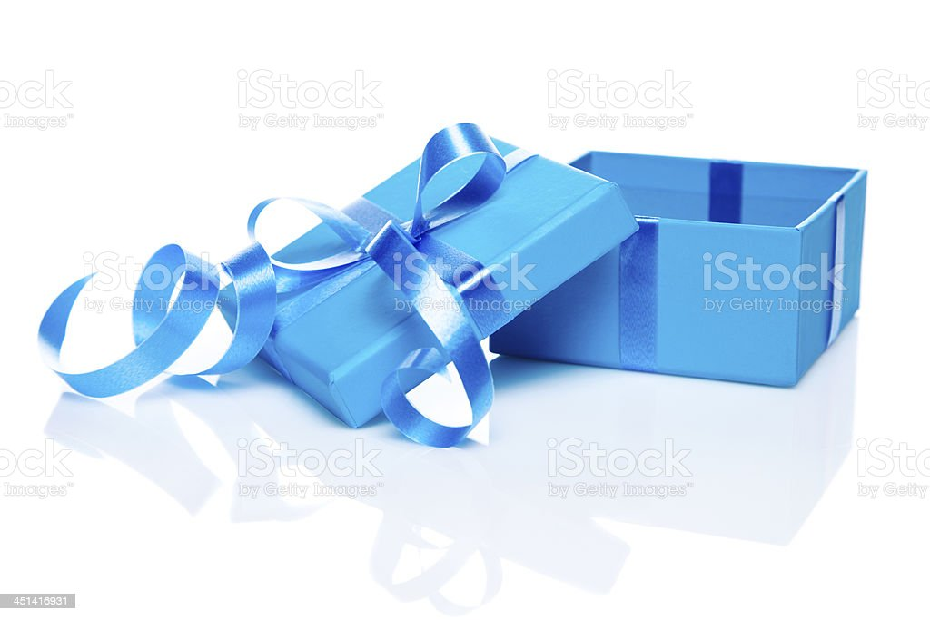 Gift Box with blue bow stock photo