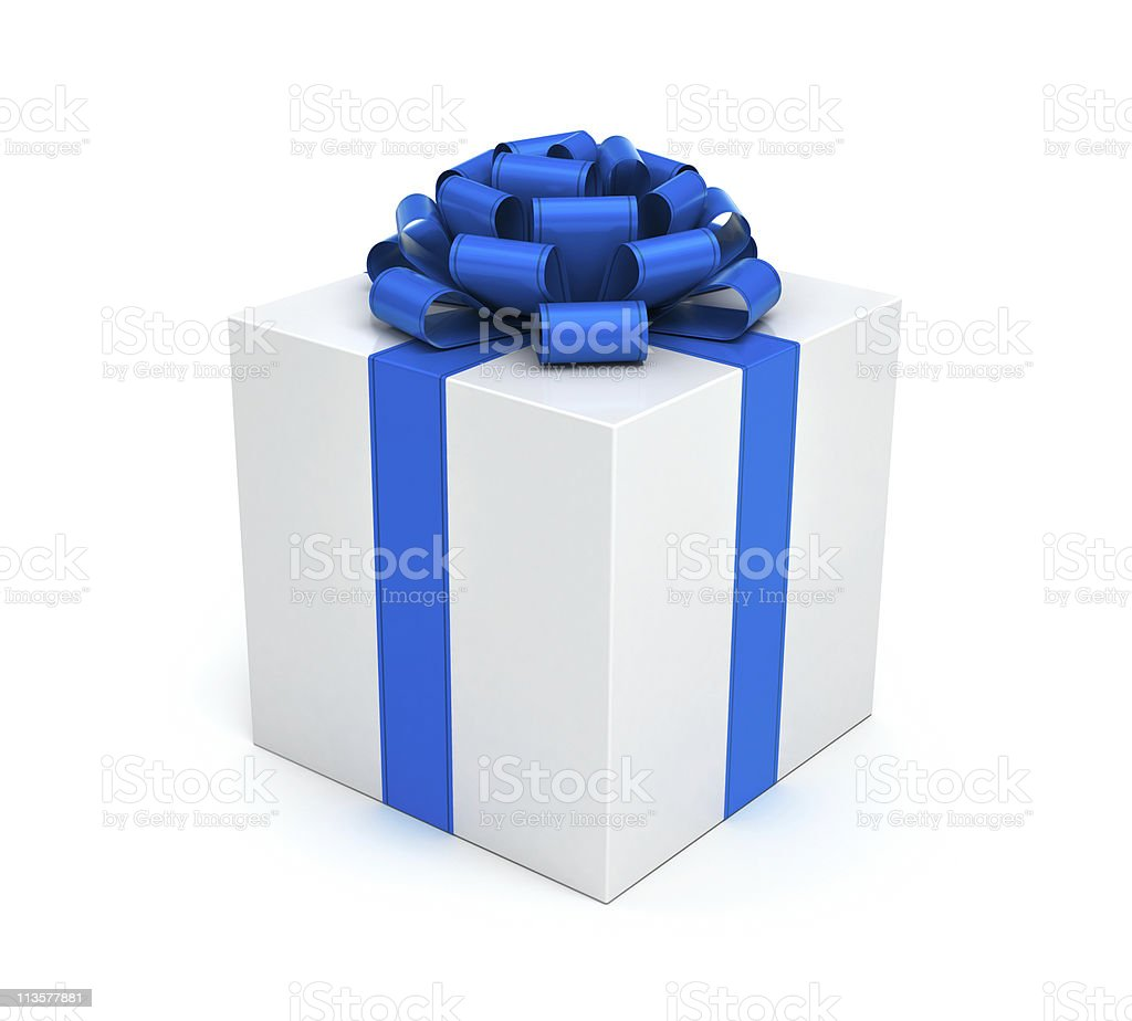 Gift box with blue ribbon and bow royalty-free stock photo