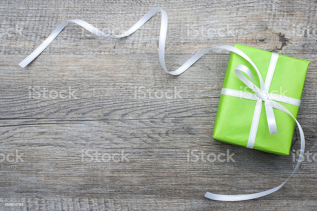 Gift box with bow stock photo