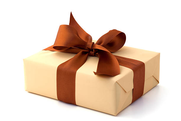Gift box with brown bow and tan stock photo