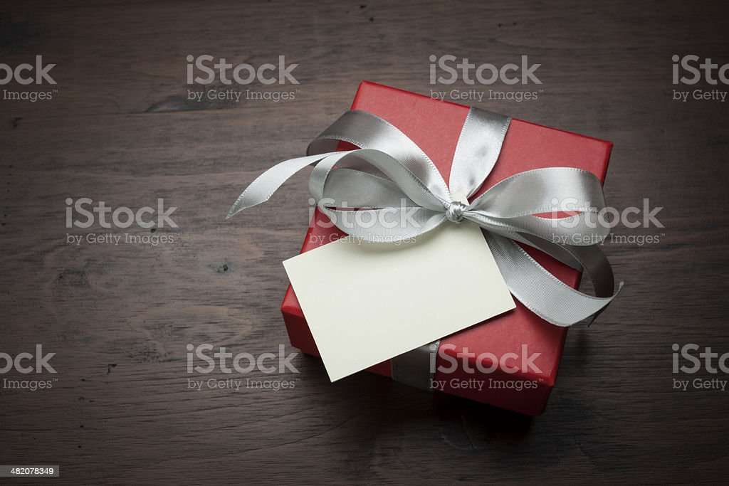 Gift box with card stock photo