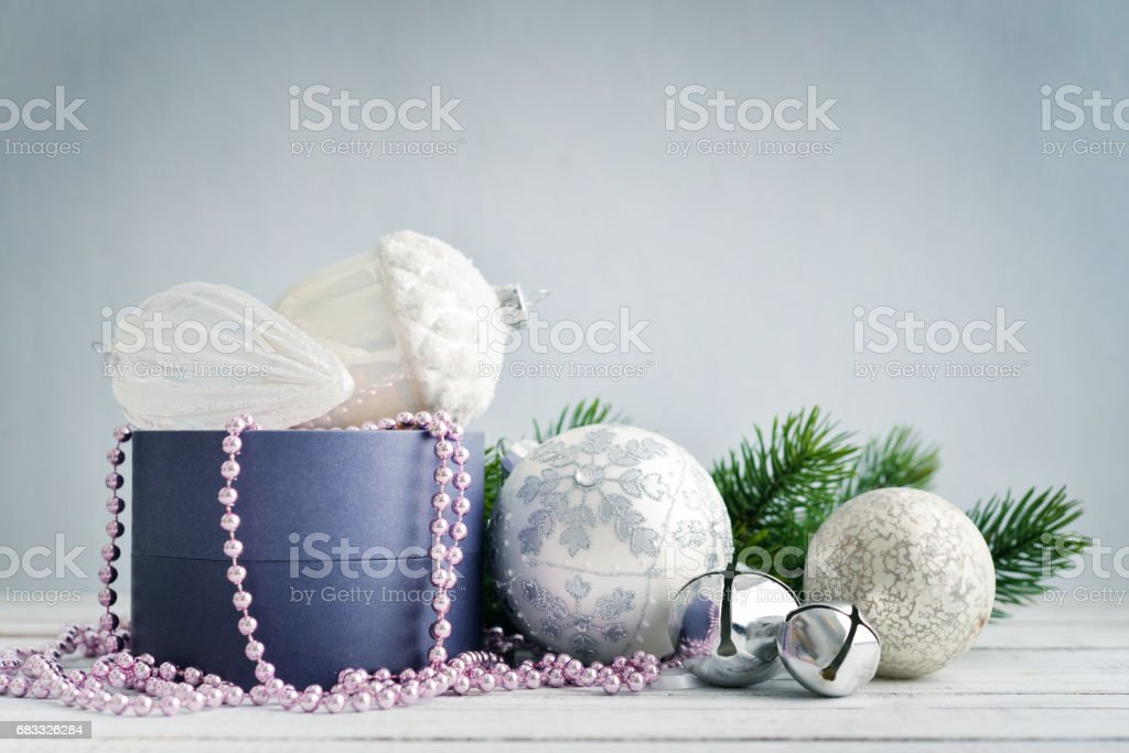Gift box with christmas decorations royalty-free stock photo