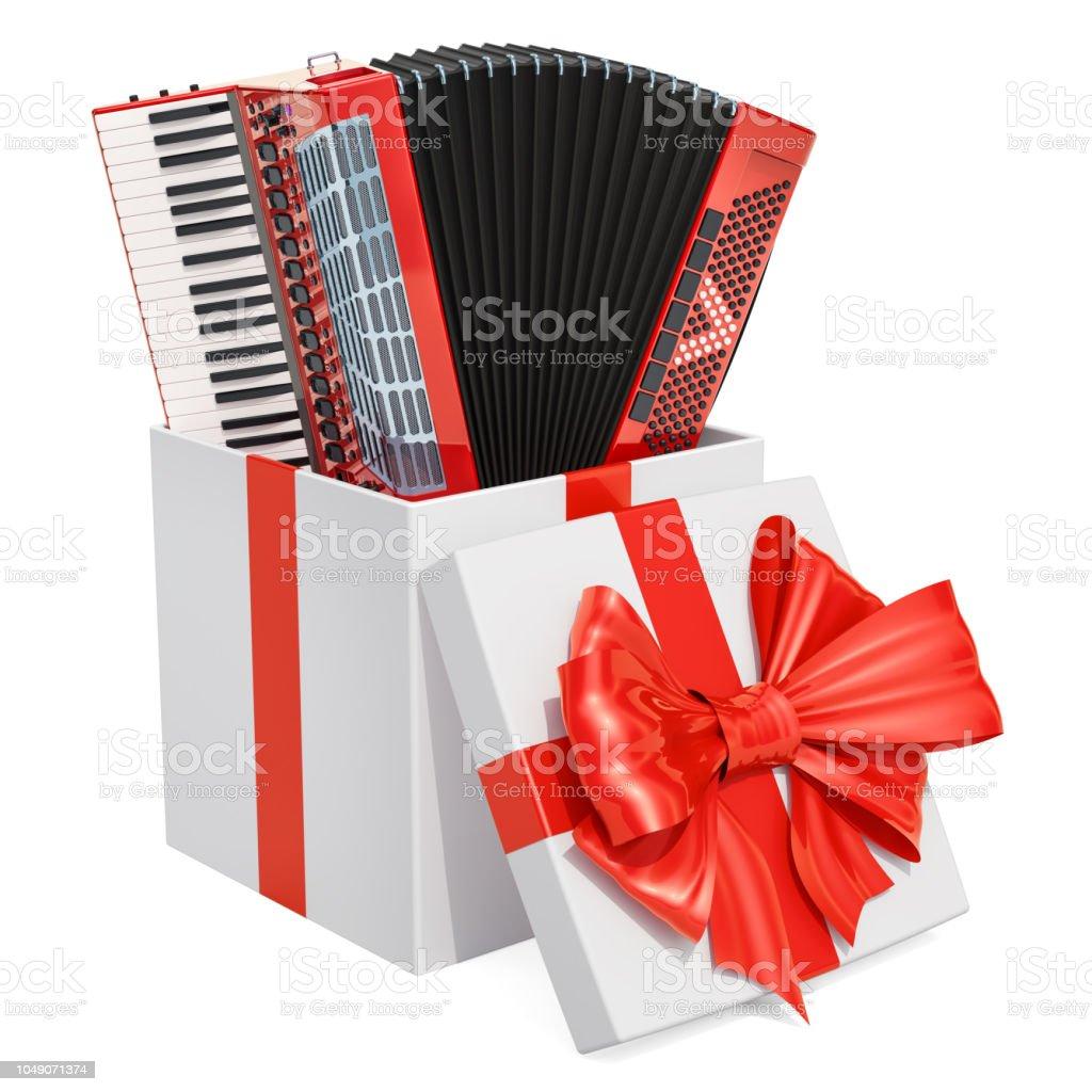 Caja de regalo con acordeón digital, 3D rendering aislado sobre fondo blanco - foto de stock