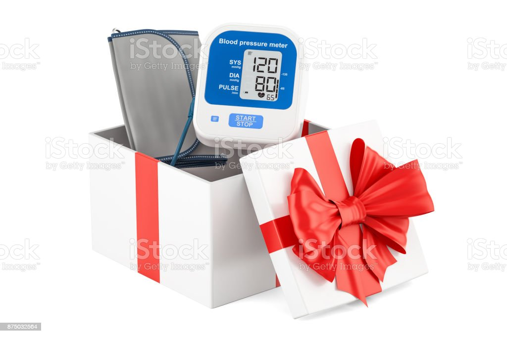 Gift box with digital tonometer, 3D rendering isolated on white background stock photo