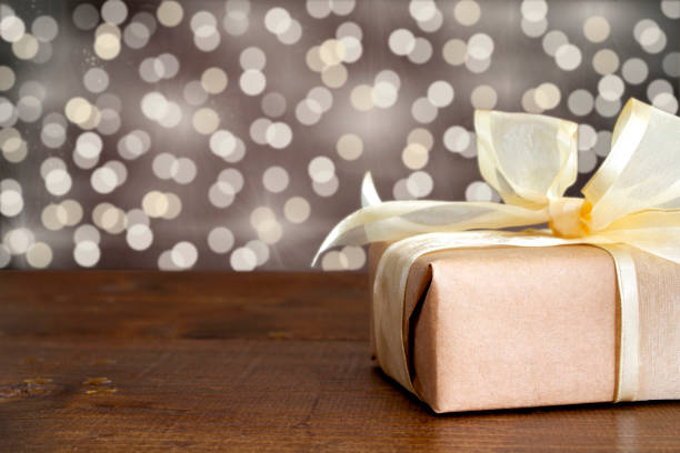 Gift box with gold ribbon. stock photo