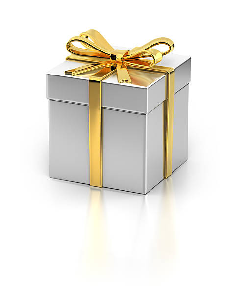 Gift Box with Gold Ribbon stock photo
