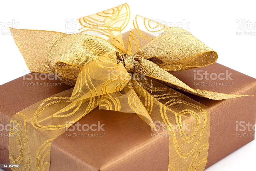 gift box with golden bow royalty-free stock photo