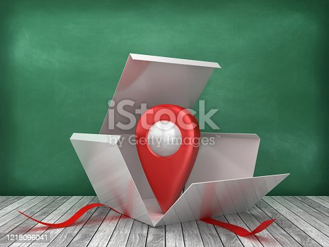 Gift Box with GPS Marker on Chalkboard Background - 3D Rendering