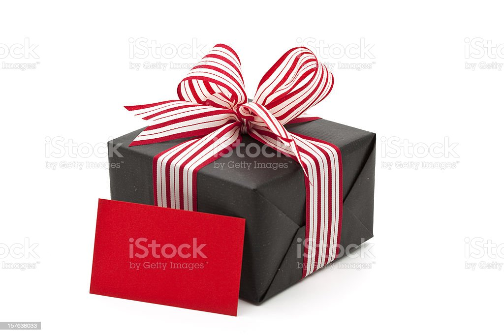 gift box with greeting card royalty-free stock photo