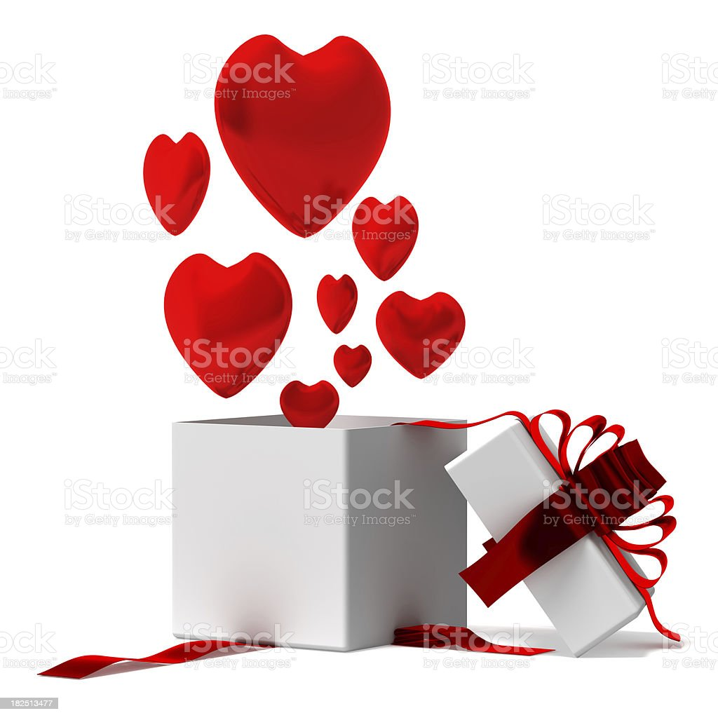 Gift box with hearts royalty-free stock photo