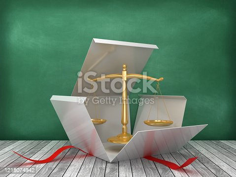 istock Gift Box with Legal Scale on Chalkboard Background - 3D Rendering 1218074942