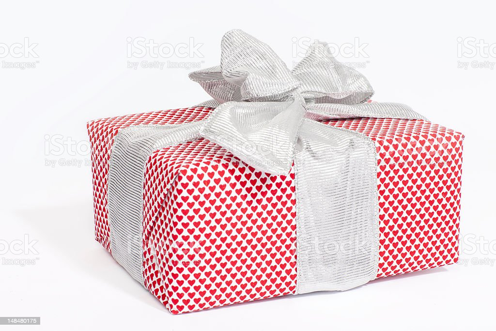 gift box, with love, silver ribbon royalty-free stock photo