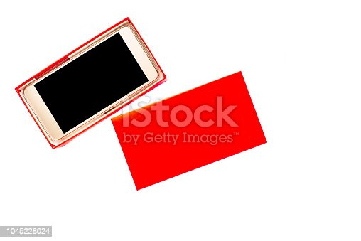 1161116588istockphoto Gift box with mobile phone, smartphone with black screen and touch display 1045228024