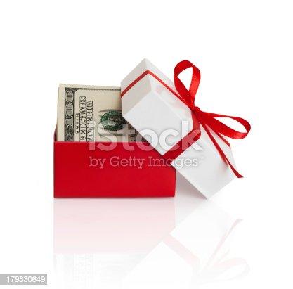 istock Gift box with money 179330649