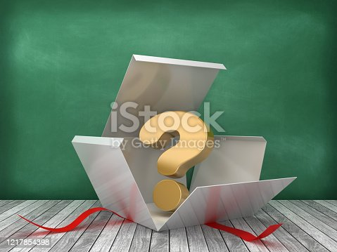 Gift Box with Question Mark on Chalkboard Background - 3D Rendering