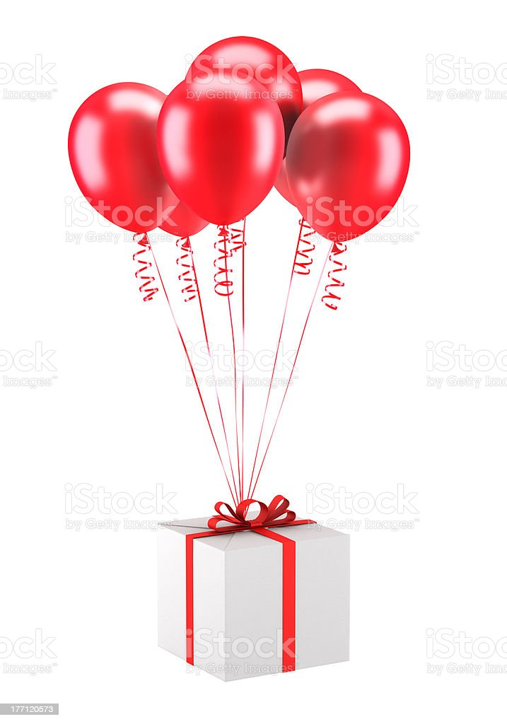 gift box with red balloons isolated on white background stock photo