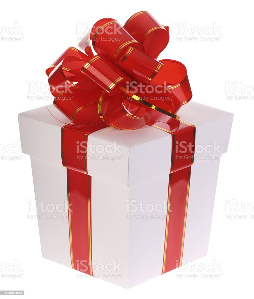 Gift box with red bow. royalty-free stock photo
