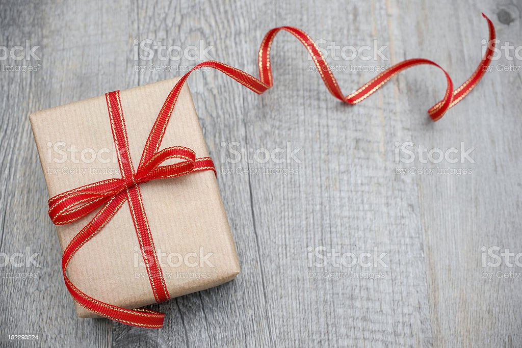 Gift box with red bow royalty-free stock photo