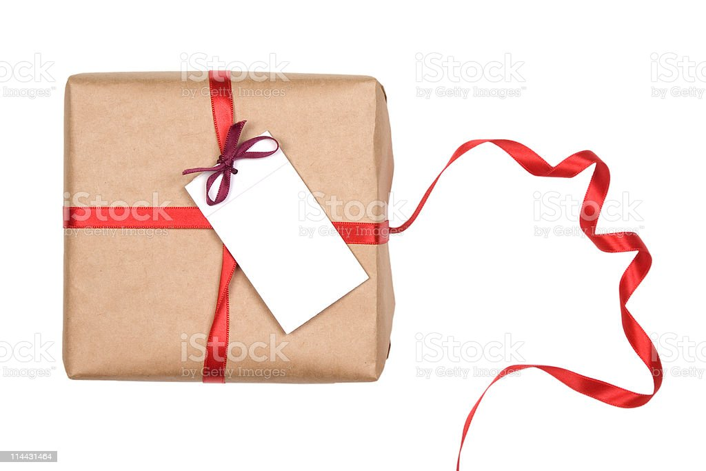 gift box with red ribbon and blank label royalty-free stock photo