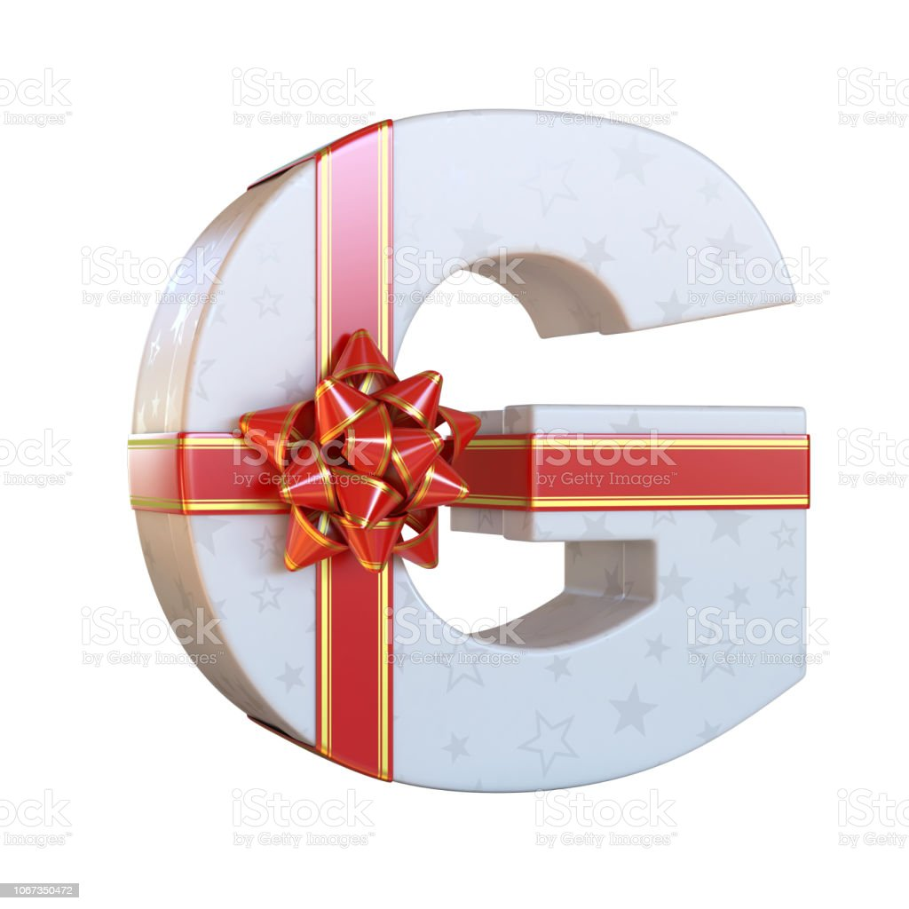 Gift box with red ribbon bow 3d font G stock photo