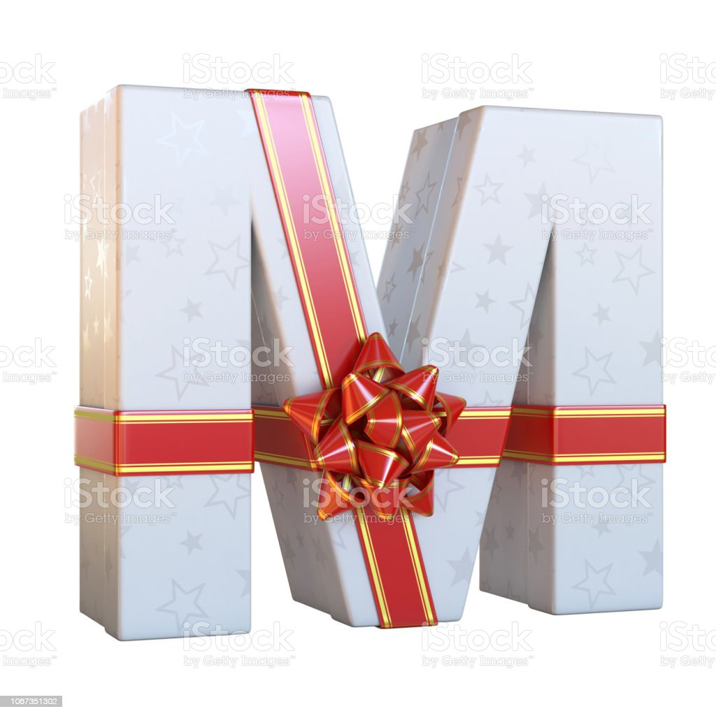 Gift box with red ribbon bow 3d font M stock photo