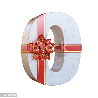 845307368 istock photo Gift box with red ribbon bow 3d number 0 1067351630