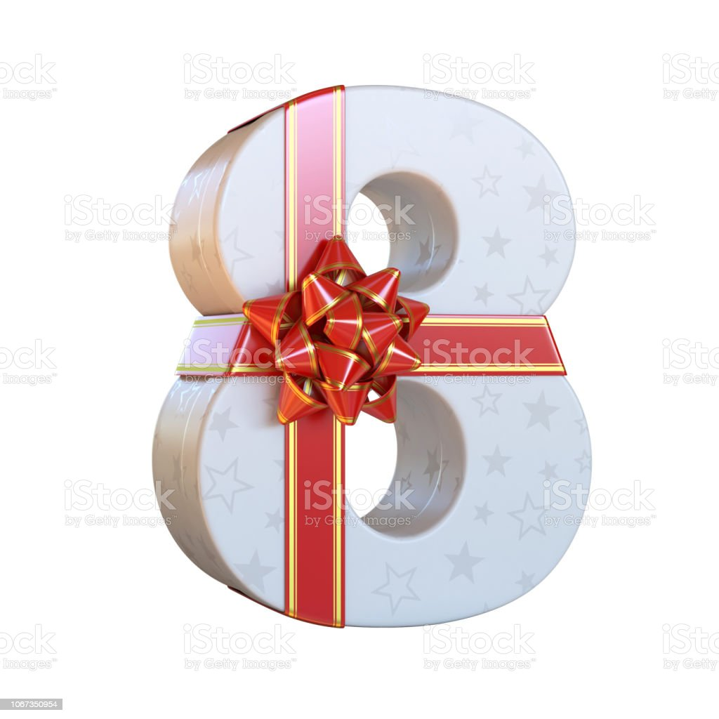Gift box with red ribbon bow 3d number 8 stock photo