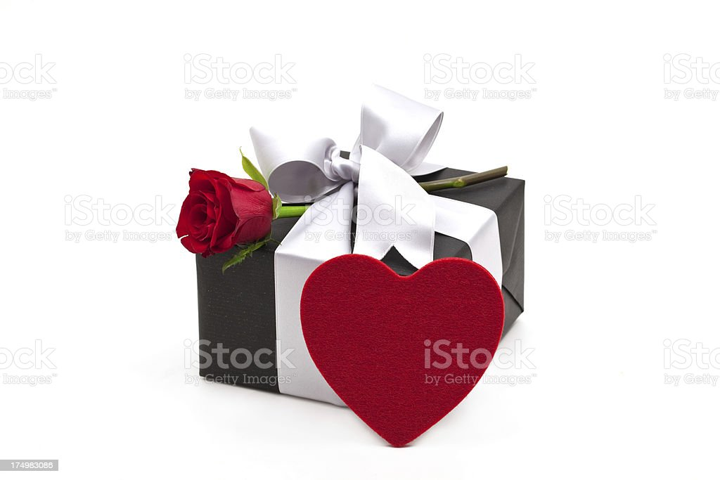 gift box with red rose royalty-free stock photo