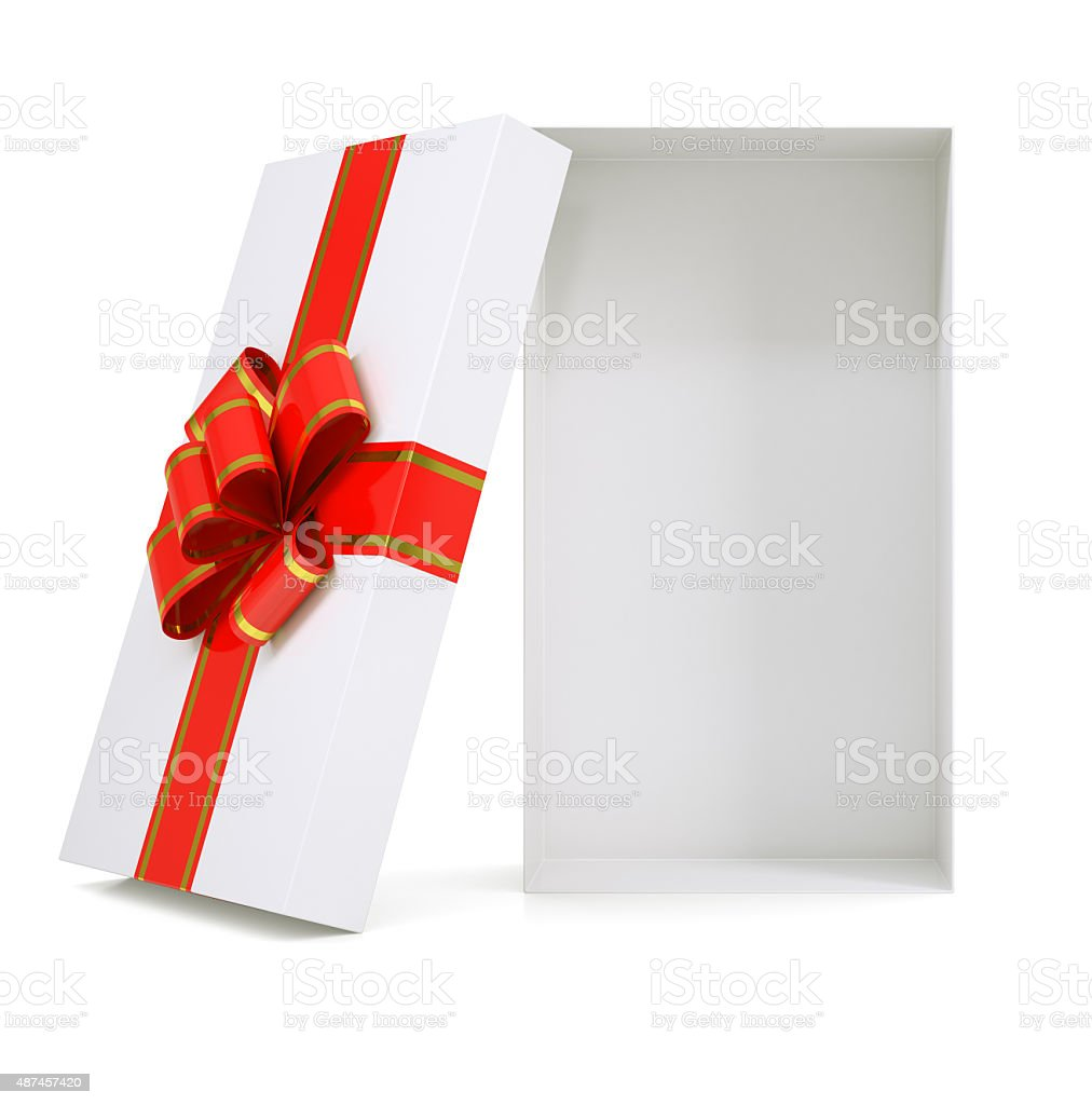 Gift box with ribbon on white stock photo