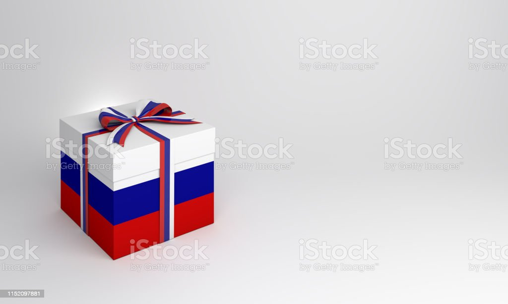 Gift box with Russian flag color on studio lighting white background....